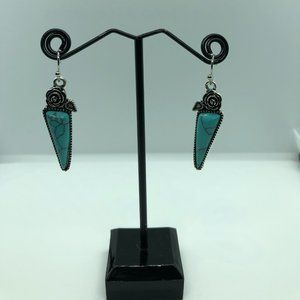 Rose Silver Plated Water Drop Turquoise Earrings